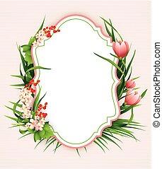tarjeta, fondo., flor, saludo, colorido