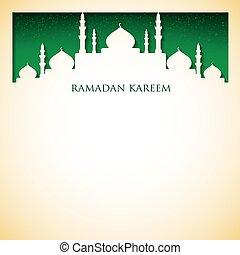 """tarjeta, format., mezquita, vector, (generous, """"ramadan, kareem"""", ramadan)"""