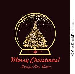 tarjeta, globo, saludo, oro, navidad