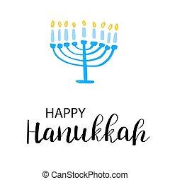 tarjeta, hanukkah, feliz, fondo., texto, velas, blanco, 9, ...