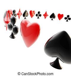 tarjeta, hecho, juego, plano de fondo, trajes