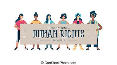 tarjeta, humano, diverso, mujeres, internacional, derechos