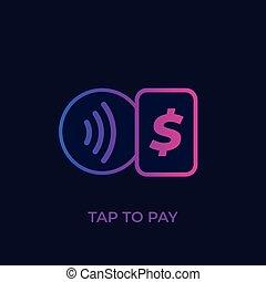 tarjeta, icono, golpecito, paga, pagos, contactless