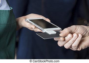tarjeta, imagen, aceptando, pago, cortado, cliente, vendedora