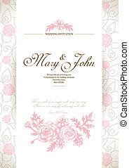 tarjeta, invitación, boda