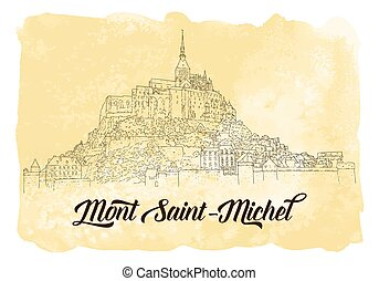 tarjeta, línea, saint-michel., silhouette., vector, viaje,...