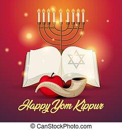 tarjeta, logotipo, saludo, yom, plantilla, o, shofar, kippur, plano de fondo
