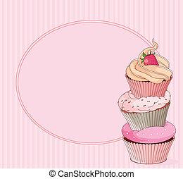 tarjeta, lugar, cupcake