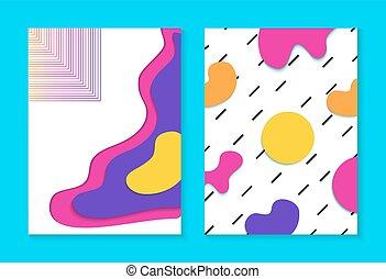 tarjeta, memphis, plano de fondo, colorido, conjunto, ...
