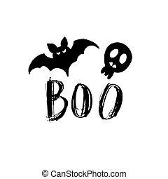 tarjeta, murciélago, feliz, vector, scull., o, ilustración, gusto, truco, halloween.