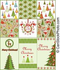 tarjeta, navidad, colección, papeles pintados