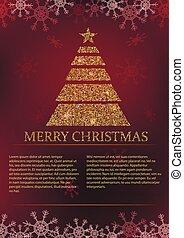 tarjeta, navidad, plano de fondo, rojo