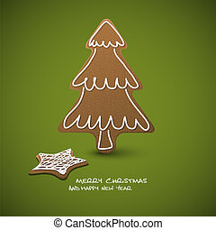 tarjeta, -, navidad, vector, gingerbreads, glaseado, blanco