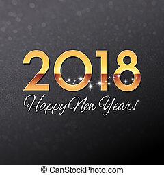 tarjeta, negro, saludo, oro, 2018