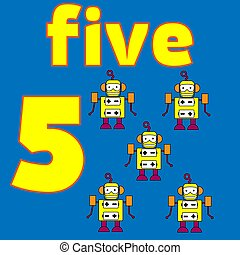 tarjeta, number., mathematics., education., vector, illustration., worksheet, para, niños