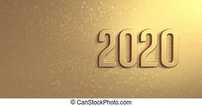 tarjeta, oro, saludo, 2020