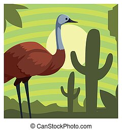 tarjeta, paisaje, emu, australiano