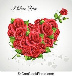 tarjeta, para, día de valentín, corazón, de, rosas rojas