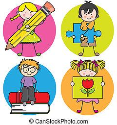tarjeta, para, educación
