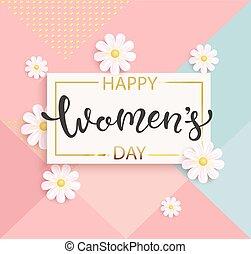 tarjeta, para, mujeres, día, con, handdrawn, lettering.