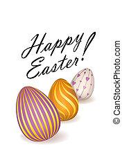 tarjeta, Pascua, saludo, Plano de fondo,  floral, feriado, huevo, feliz
