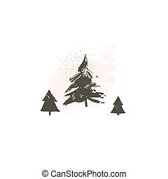 tarjeta, pastel, navidad, plano de fondo, resumen, aislado, ilustración, mano, colores, vector, árboles, alegre, tiempo, diversión, dibujado, blanco, escandinavo, navidad, caricatura