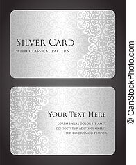 tarjeta, patrón, lujo, plata, vendimia