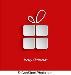 tarjeta, plano de fondo, rojo, regalo, navidad