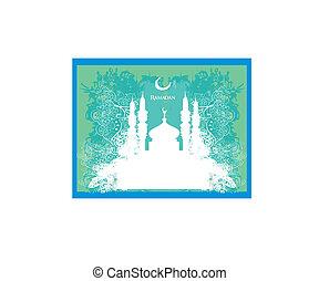 tarjeta, plano de fondo, -, vector, ramadan, mezquita, silueta