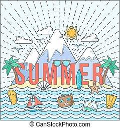 tarjeta, plano, estilo, verano, color, viaje, yate, isla, ...