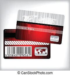 tarjeta, rayado, lealtad, diseño, mapa