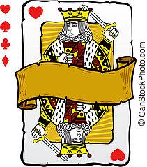 tarjeta, rey, estilo, juego, ilustración