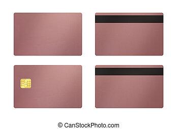 tarjeta, rosa, fondo blanco, oro