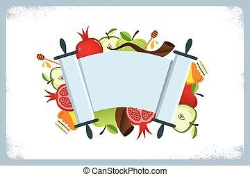 tarjeta, símbolos, feriado, hashana, judío, tradicional, ...