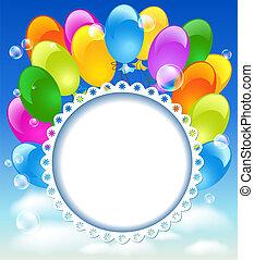 tarjeta, saludo, globos