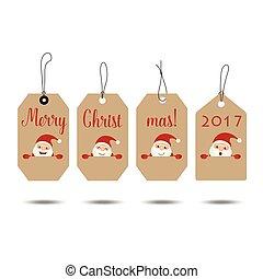 tarjeta, saludo, ilustración, vector, alegre, año, nuevo, 2017, navidad, feliz