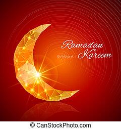 tarjeta, santo, ramadan, mes, saludo, musulmán