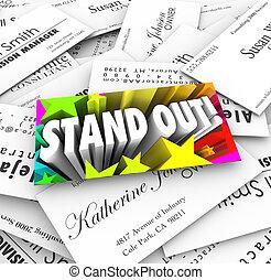 tarjeta, ser, diferente, empresa / negocio, pila, estante,...