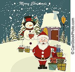 tarjeta, snowman., santa, navidad, vector., editable