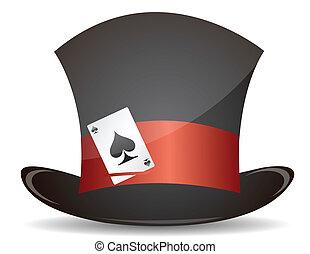 tarjeta, sombrero, magia, ilustración, as