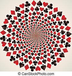 tarjeta, suit., juego, tarjetas., op, arte