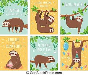 tarjeta, tarjetas, sueño, perezoso, text., lindo, felicitación, caricatura, animales, sloth., conjunto, sloths, ilustración, motivación, saludo
