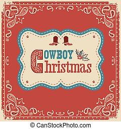 tarjeta, texto, tabla, navidad, vaquero