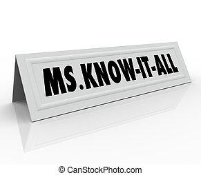 tarjeta, todos, sabio, nombre, ms., él, persona, saber, inteligente, spe, elegante, tienda