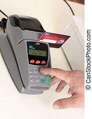 tarjeta, transacción, débito, o, credito