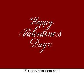 tarjeta, valentine, vector, día, diseño, pluma de caligrafía
