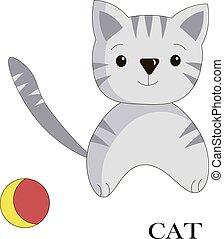 tarjeta, vector, cat., caricatura, logotipo, ism, ...