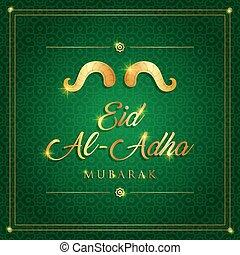 tarjeta, vector, eid-al-adha, sacrificio, mubarak, islámico, ilustración, fiesta, saludo