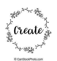 tarjeta, vector, laurel., crear, texto, diseño, invitaciones, citas, illustartion, carteles, flor, mano, dibujado, blogs, guirnalda, saludo