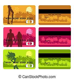 tarjeta, viaje, feriado, diseño, banco
